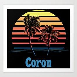 Coron Philippines Sunset Palm Trees Art Print