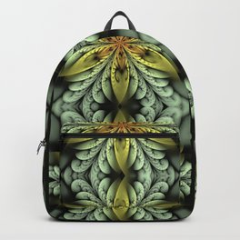 Golden flower with mint swirls Backpack