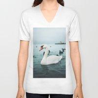 swan V-neck T-shirts featuring Swan by Sputnik Mir