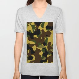 Abstract brown green black camo pattern Unisex V-Neck