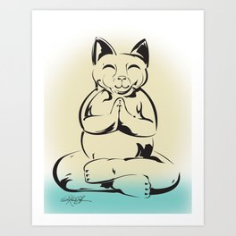 Buddha Cat Love Art Print