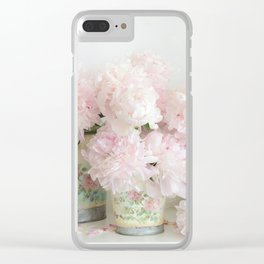 Shabby Chic Dreamy Pastel Peonies Floral Home Decor Clear iPhone Case