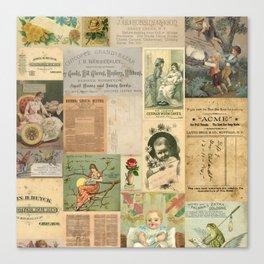 Mom & Baby Ephemera Vintage Collage Canvas Print