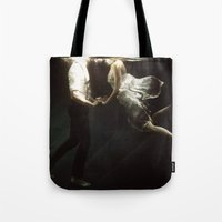 abyss Tote Bags featuring abyss of the disheartened VII by Heather Landis