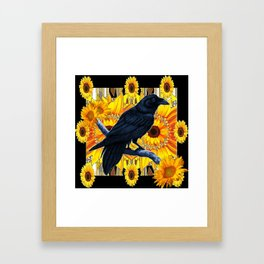 GRAPHIC BLACK CROW & YELLOW SUNFLOWERS ABSTRACT Framed Art Print