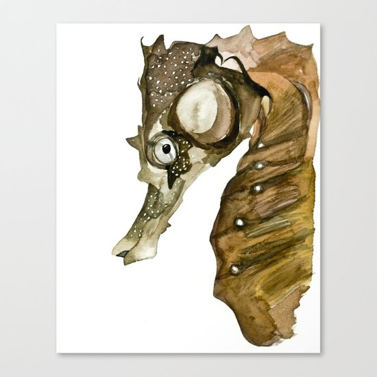 Ocean Treasures No.1 Seahorse Watercolor Canvas Print
