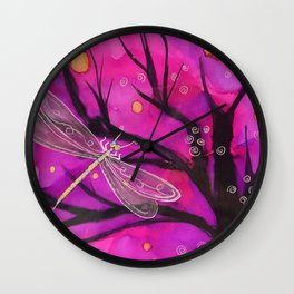 Happy Little Delicate Dragonfly Wall Clock