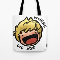 niall Tote Bags featuring WWA Niall by cargdoodles