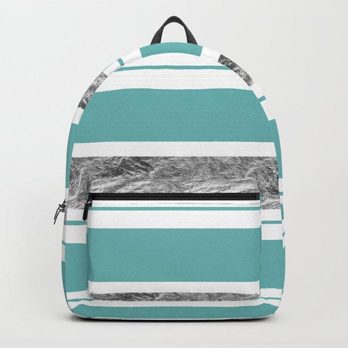 Aqua Blue Stripe with Silver Backpack