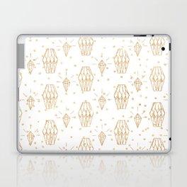 Elegant white gold faux glitter polka dots diamond pattern Laptop & iPad Skin