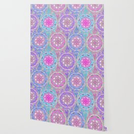 Pink, Purple and Turquoise Super Boho Doodle Medallions Wallpaper