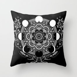 Moon Mandala Throw Pillow