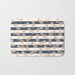 Nautical modern navy blue white stripes blush beige pineapple Bath Mat