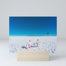 Llamas looking into the distance on the Salt Flats, Bolivia Mini Art Print