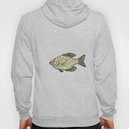 Crappie Fish Side Drawing Hoody