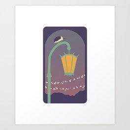 Lantern and Heron Art Print