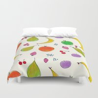 fruits Duvet Covers featuring Fruits! by Niche Drawings