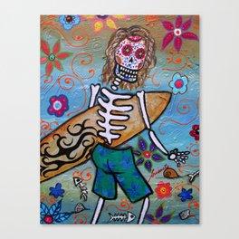 MEXICAN SURFER DIA DE LOS MUERTOS PAINTING Canvas Print