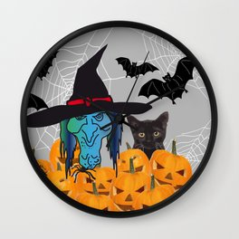 Witch bats pumpkin Halloween Wall Clock
