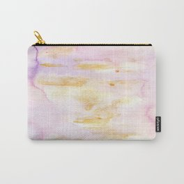 Modern Pink and Gold Watercolor Brush Strokes Carry-All Pouch