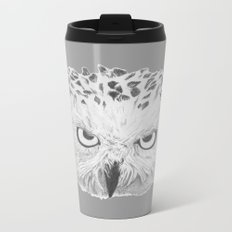 Snowy Owl Grey Metal Travel Mug
