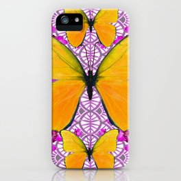 FUCHSIA COLORED  ORCHIDS &  YELLOW  BUTTERFLY FLORAL iPhone Case