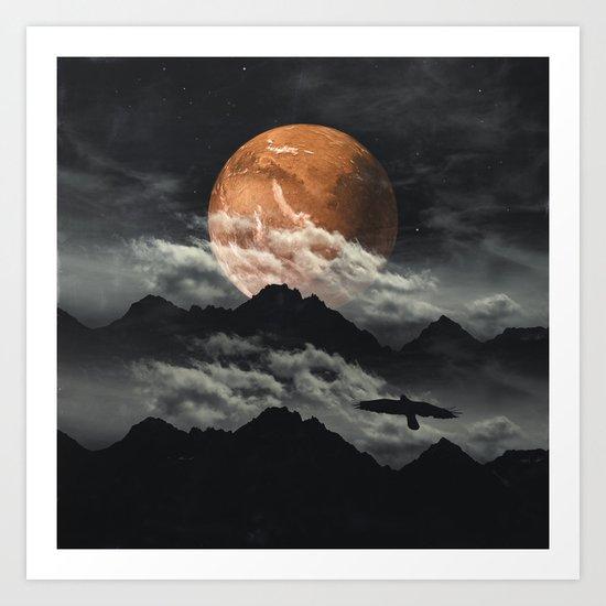 Spaces III - Mars above mountains Art Print