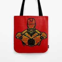 avenger Tote Bags featuring Iron Avenger by Kramcox