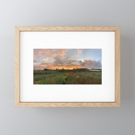 Epic Sunset on a PNW Flower Farm Framed Mini Art Print