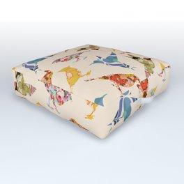 Vintage Wallpaper Birds Outdoor Floor Cushion