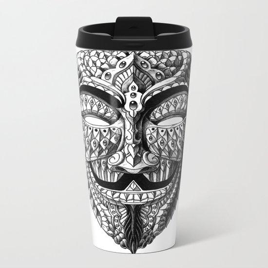Ornate Anonymous Mask Metal Travel Mug