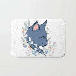 Happy Cat In The Springtime Garden Bath Mat