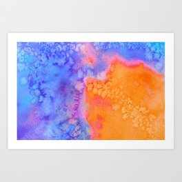 Ice and Frost and Burning Flame Watercolor Texture Art Print