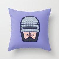 robocop Throw Pillows featuring ROBOCOP by M. Gulin