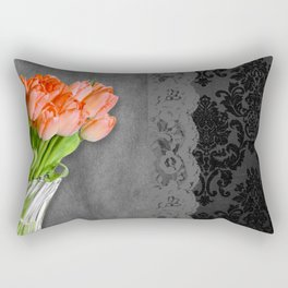 Orange Tulips, Lace & Damask Rectangular Pillow