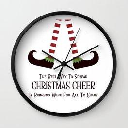 Christmas Cheer Sharing Wine Wall Clock