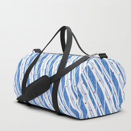 Candy Cane Blue Stripes Holiday Pattern Duffle Bag