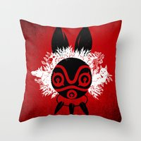 mononoke Throw Pillows featuring MONONOKE by kravic
