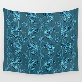 Chameleon Oneness in Midnight Vintage Psychedelic Blue Space Wall Tapestry