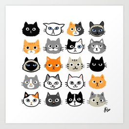 Cute Cats   Assorted Kitty Cat Faces   Fun Feline Drawings Art Print