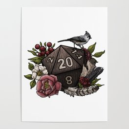Druid Class D20 - Tabletop Gaming Dice Poster