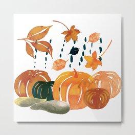Trendy Pumpkin Rain Metal Print