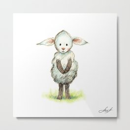 Pencil and watercolor drawing of cute little sheep Metal Print
