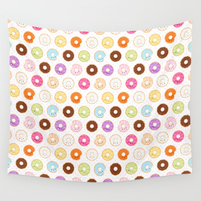 Happy Cute Donuts Pattern Wall Tapestry