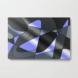 ABSTRACT CURVES #2 (Grays & Light Blue) Metal Print