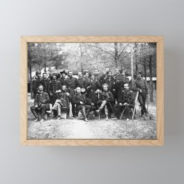 General Joe Hooker and His Staff - Falmouth Virginia 1863 Framed Mini Art Print