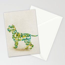 Schnauzer Dog Typography Art / Watercolor Painting Stationery Cards