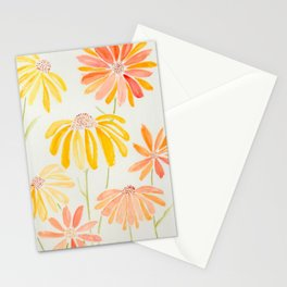 Sunny Orange and Yellow Watercolor Coneflowers Stationery Cards