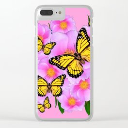 PINK ON PINK ROSES MONARCH BUTTERFLIES Clear iPhone Case