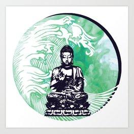 Buddha Typhoon Emerald Smoke Art Print